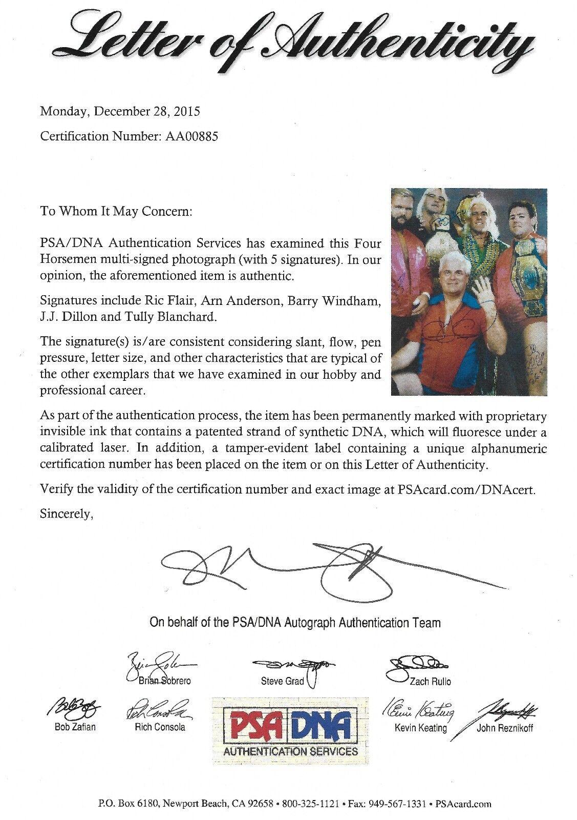 Ric Flair Arn Anderson + 4 Four Horsemen Horsemen Horsemen Signé 16x20 Photo PSA   DNA Wwe Nwa Wcw 3ef289