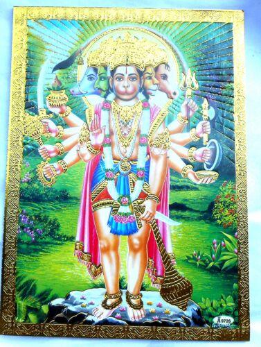 BILD HANUMAN Hanumat Affengott Prägedruck INDIEN Altarbild Vorlage Tattoo 77a