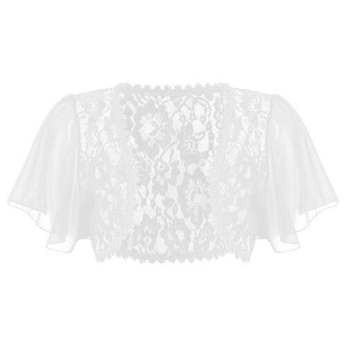 Women Lace Chiffon Short Sleeve Crop Bolero Shrug Top Ladies Cardigan Plus Size