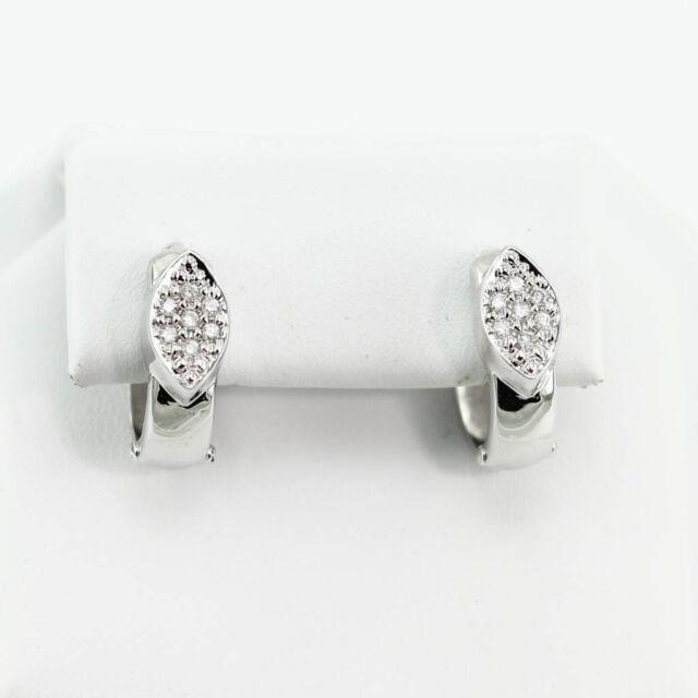 7b2fe150de76a Buy 14k White Gold 0.40 Ct Diamond Huggie Hoop Earrings online