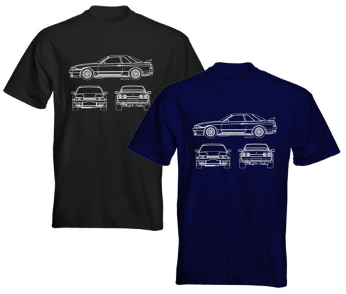 Velocitee Para Hombre Premium Camiseta De Nissan Skyline R32 Plan Contorno NS06MI