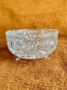 Vintage-Large-Heavy-Hand-Cut-Crystal-Footed-Bowl