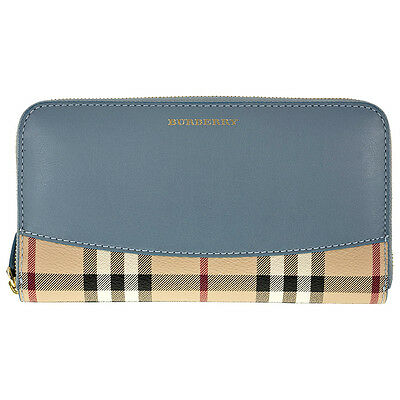 Burberry Elmore Haymarket Check Coated Canvas Blue - Grey Leather Zip Around