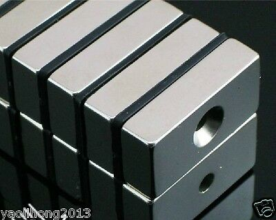 5pcs Super Strong Block Magnets 20 x 10 x 5mm Hole 4mm Rare Earth Neodymium N50