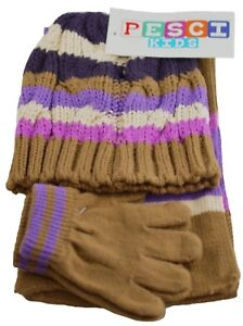c9e4a7357d8a Girls Hat Scarf And Gloves Set Winter Warm Knitted Stripe Toddler ...