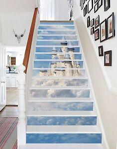 3D-Clouds-Castle-Stair-Risers-Decoration-Photo-Mural-Vinyl-Decal-Wallpaper-UK