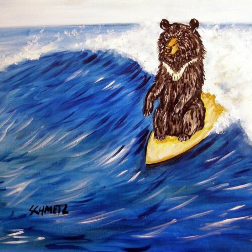 4x4  black bear surfing glass art tile coaster gift JSCHMETZ modern folk new