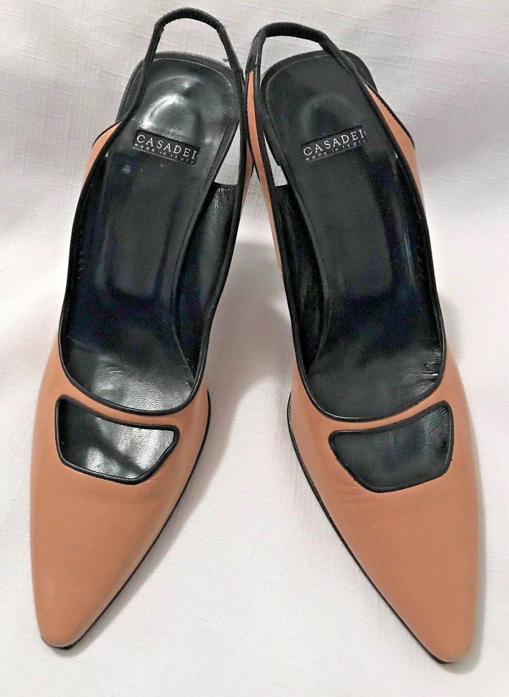 100% nuovo di zecca con qualità originale NWOB CASADEI  donna donna donna Tan & nero Heels-Dimensione 7B-Made In   i nuovi marchi outlet online