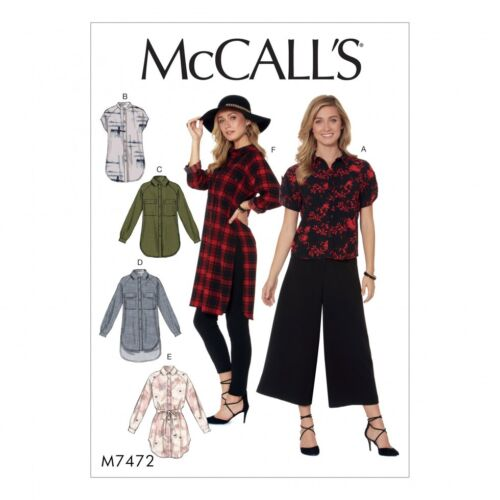 McCalls Ladies Easy Sewing Pattern 7472 Raglan Sleeve Button Down Shirts ...