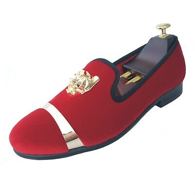 Men Red Velvet Loafers Wedding Dress Shoes With Red Bottom Buckle