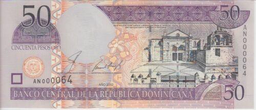 UNC VERY LOW SERIAL NBR DOMINICAN REPUBLIC P170b 50 PESOS ORO 2002 PREFIX AN