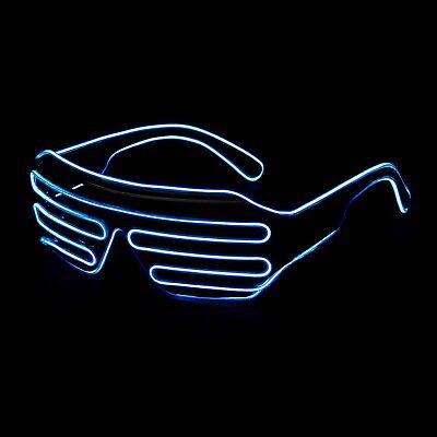 Filo El Blu Led Accendere Occhiali Neon Glow Party Rave Lampeggiante Tonalità Dell'otturatore-mostra Il Titolo Originale
