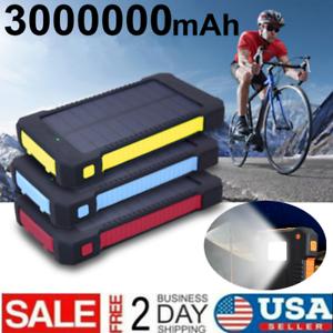 Waterproof Solar Power Bank 3000000mAh External Battery Fast chargeing Dual USB