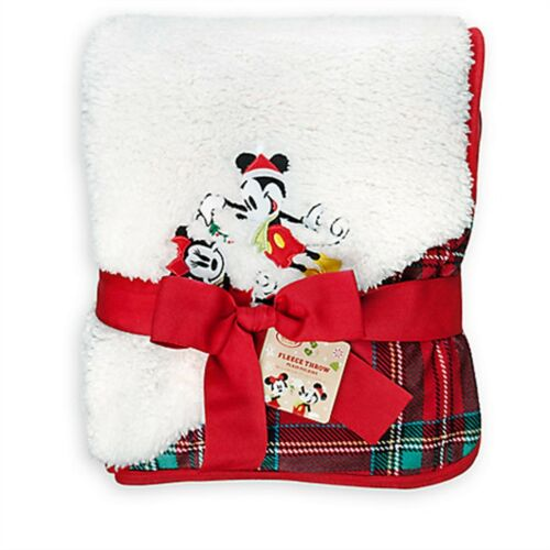 Disney Store Mickey Minnie Holiday Fleece Reversible Throw Blanket Sold Out NWT