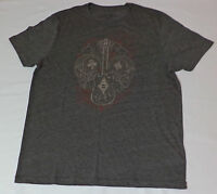 Lucky Brand S/s Gray Graphic T-shirt Guitar W/ Cards, Skulls Small L397