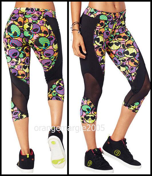 ZUMBA Zmoji Mesh Vented Perfect Capri Leggings Flattering  Lifts Shapes S M L XL
