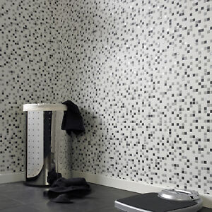 Details About Contour Checkered Tile Effect Kitchen Bathroom Black White Silver Wallpaper