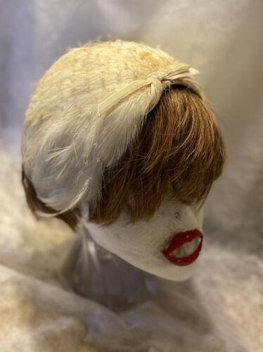 1940-50s Fascinator Hat A Louise Original from A Forman Co Gray Felt Black Velvet Trim Burnt Orange Ribbon Feather Mini Hat