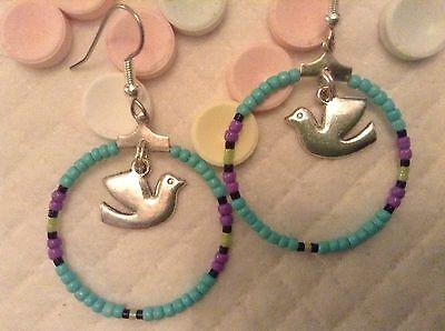 OOAK Turquoise purple Native Boho Wings of Peace Dove beaded hoop earrings