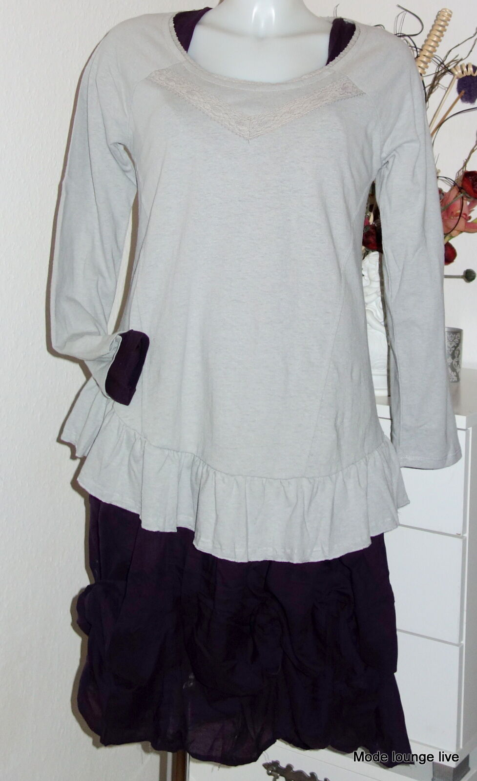 Thought Braintree Long-Shirt organische Baumwolle Giselle Tunic Pale grey