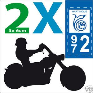 2 sticker MOTO plaque immatriculation adhésif logo département 972 autocollant