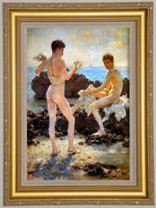 "Original Oil Painting art Impressionism two young male nude on canvas 24""X36"""