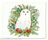 Alice's Cottage 1 Cotton Flour Sack Towel, Winter Snowy Owl 27x30 Made In Usa