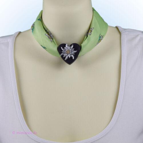 Trachtentuch Halstuch Tuch grün hellgrün Edelweiß mit Herz Anhänger Schalhalter