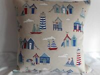 """BEACH HUTS LINEN STYLE COTTON CUSHION COVER BLUE,RED,NATURAL 17""""/43cm Seaside"""