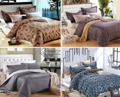 100/% Cotton Duvet Cover Pillow Cases Reversible Bedding Set Double King 400TC