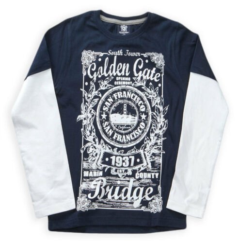 Boys T Shirt New Kids Long Sleeved Overlay Cotton Slogan Tops Ages 7-13 Years