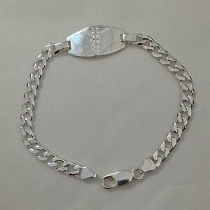 WIDE BOLD FREE Engravable Figaro ID Bracelet Solid REAL 925 Sterling Silver