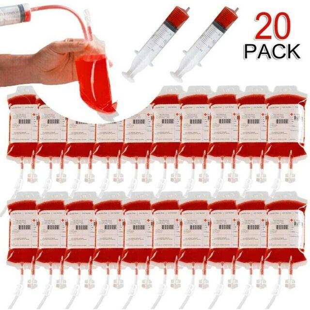 Reusable Blood Vampire Drink Energy Bag Bottle Hallowen Cosplay Party AN
