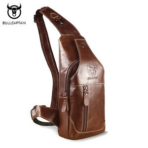 BULL CAPTAIN Genuine Leather Crossbody Bags Men s Casual Shoulder ... 4d80a28f4524