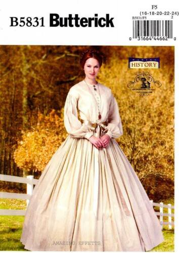 Steampunk Sewing Patterns- Dresses, Coats, Plus Sizes, Men's Patterns Civil War sewing Pattern for womens Dress & Petticoat new uncut Butterick 5831 $8.84 AT vintagedancer.com