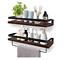 2pack floating shelves, rustic wood wall storage shelves with removable holder