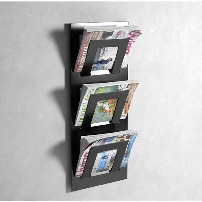 Minnelijk Designer 3 Tier Wall Mounted Magazine Rack In Black - By The Metal House