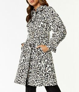52482ae8018656 New 12 UK KAREN MILLEN The Atelier Animal Leopard Print Mac Trench ...