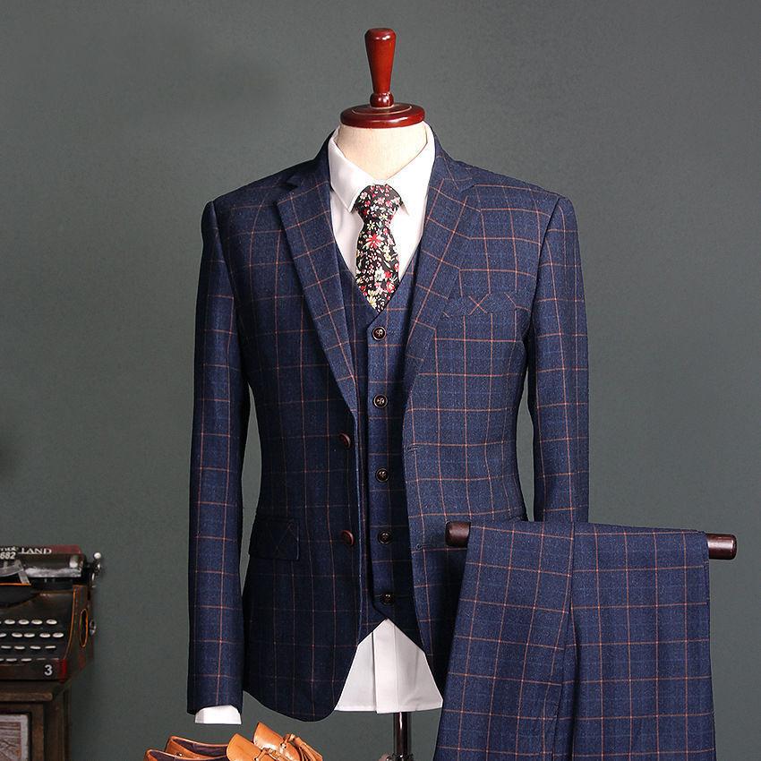 Para Hombre Cheque  a cuadros trajes 3 piezas 2 botón Novio Boda Fiesta el frac o Todas las Tallas  exclusivo
