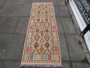 Kilim-Old-Traditional-Hand-Made-Afghan-Oriental-Blue-Long-Kilim-Runner-200x71cm
