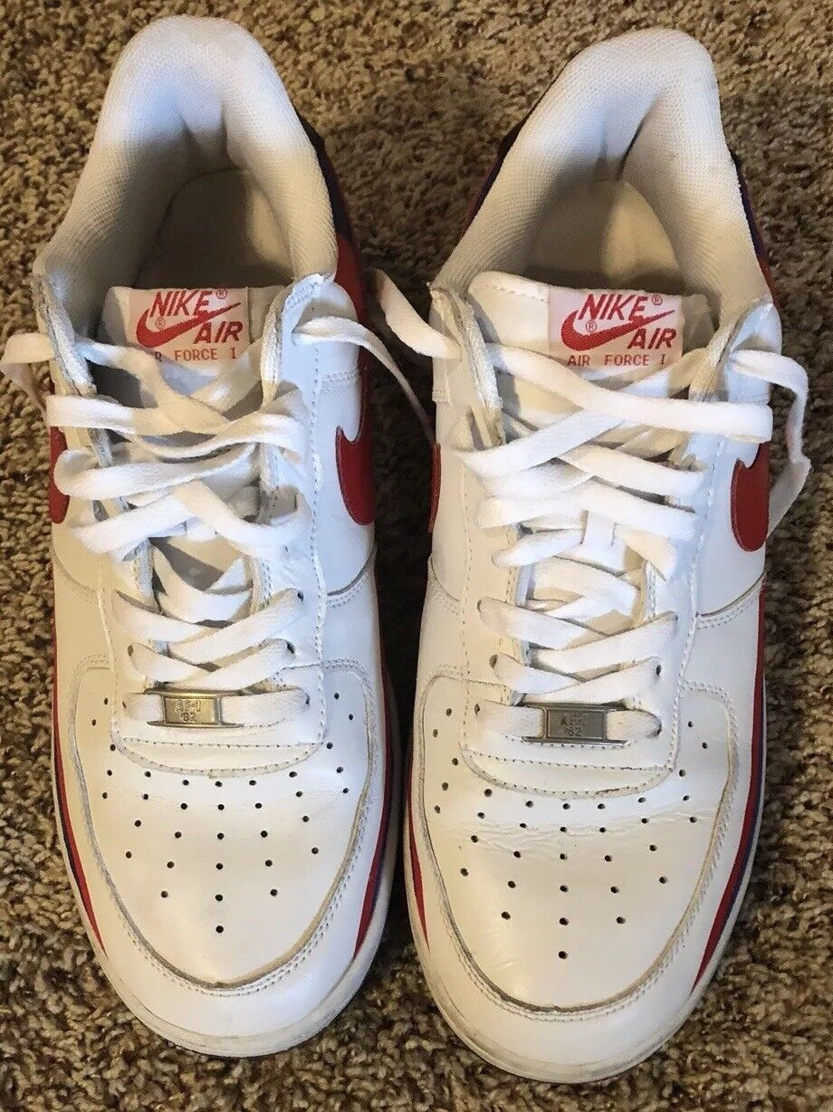 Nike Air Force 1 White Shoes Mens Size 11 White 1 Red Blue 070103 LN4 fc1c46