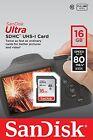 SanDisk 16 GB Ultra SDHC SDXC SD Class 10 80MB/S High Speed 266X Card UHS-I HD
