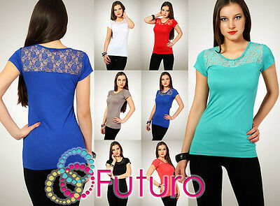 Womens Sensual T-Shirt with Lace  Summer Colors Vest Blouse Top Size 8-12 8001