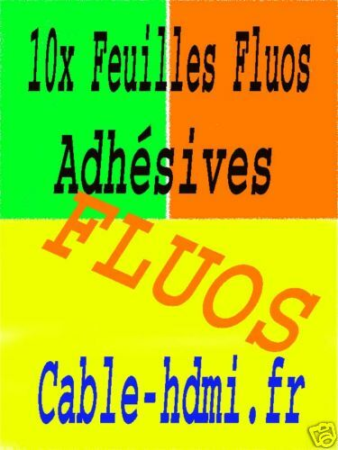 Adhésif Fluo 10 Feuilles Fluorescentes autocollantes