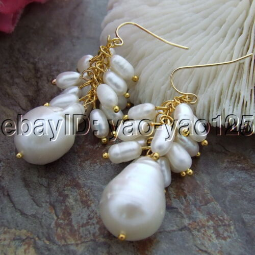 S102914 White Keshi Pearl  Rice Pearl Gold Plated Hook Earrings