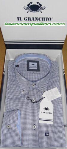 ★ IL GRANCHIO Camicia uomo manica lunga button down regular fit 100/% cotone ★