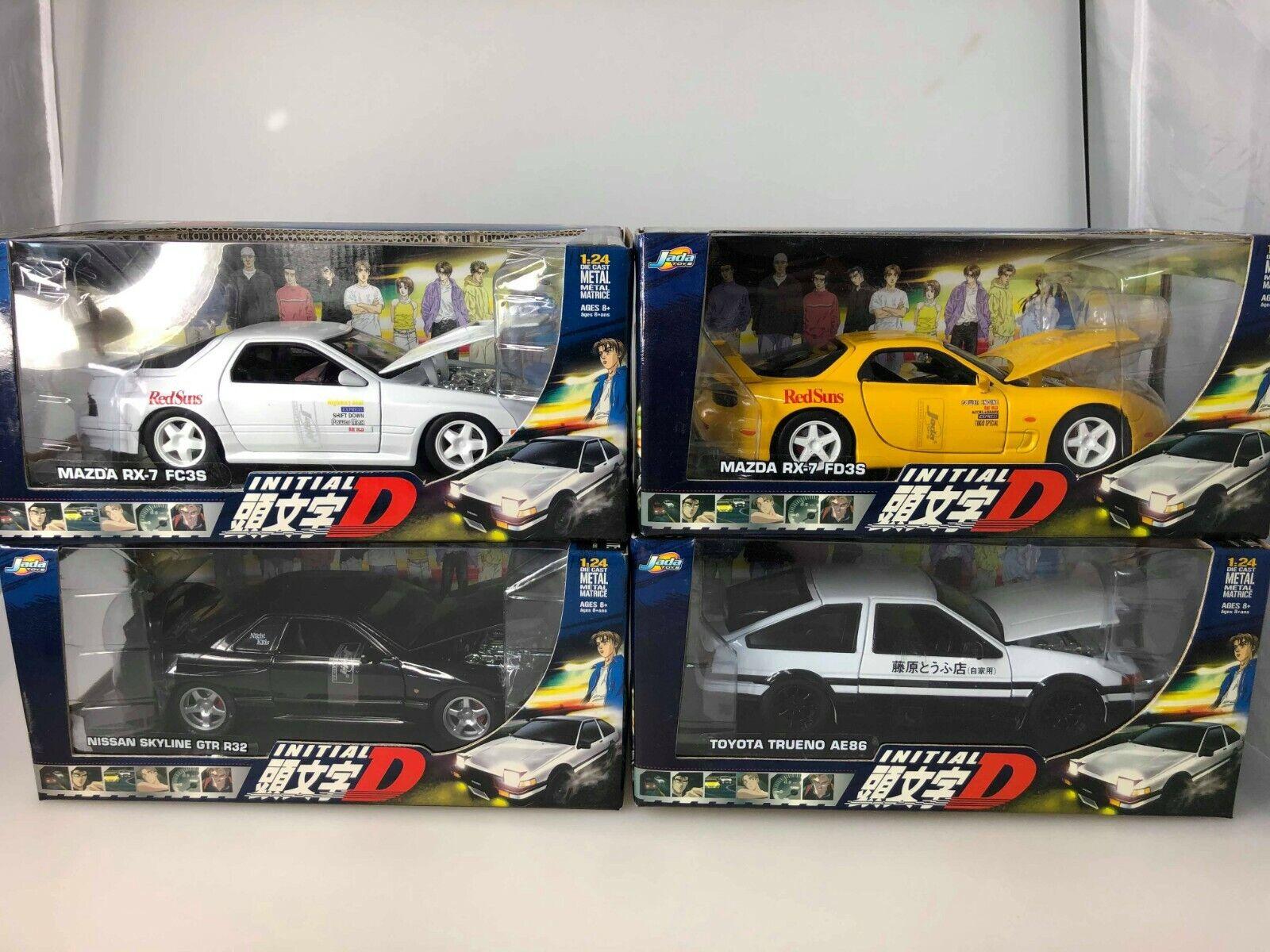 Initial D 1 24 JADA Model Kit SET OF 4 (Trueno, RX-7 (2), Skyline,) NEW IN BOX
