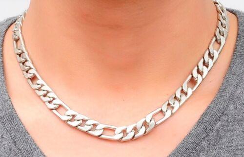 50 cm Collar De Acero Inoxidable De Hombre Pesado Plata BORDILLO CADENA de ESLABONES FIGARO N15 Reino Unido