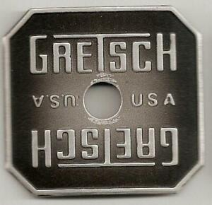 Gretsch-USA-Gray-Broadkaster-Square-Drum-Badge-Cosmetic-Issue-Snare-Tom-Bass