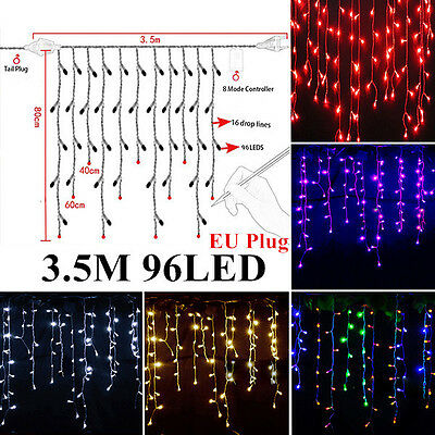 Icicle Hanging Snowing Curtain Lights Outdoor Fairy Christmas LED String Wedding